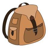 Brown-Rucksackentwurfsvektor-Illustrationsikone Stockfotos