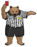 Brown russian bear soccer football referee shows red card Royalty Free Stock Photography