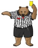 Brown russian bear soccer referee whistles and shows yellow card royalty free illustration