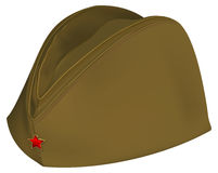 Brown russian retro soldiers cap with red star Royalty Free Stock Photo