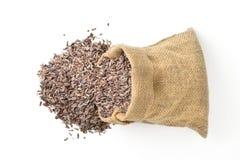 Brown ryż w workowej torbie Obraz Royalty Free