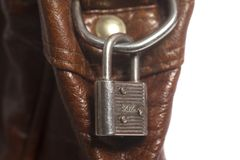 Brown rzemienna torba z metalu kędziorkiem obrazy royalty free