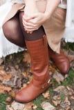 Brown rzemienni buty Zdjęcia Royalty Free