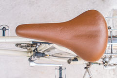 Brown saddle of bicycle Royalty Free Stock Images