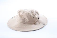 Brown safari hat on white background Royalty Free Stock Photos