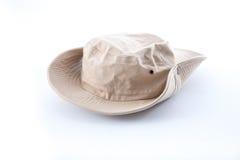 Brown safari hat on white background Stock Image