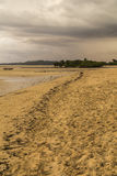 Brown sand beach on a grey rainy cloudscape Royalty Free Stock Photo