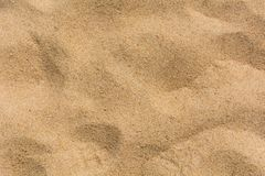 Brown sand at the beach There are traces of people walking. Stock Image