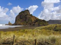 Brown-Sand Sunny Beach Grüner Bergabhang im Sonnenlicht gebadet lizenzfreie stockfotos