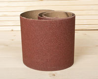 Brown sandpaper on wooden planks Royalty Free Stock Photo
