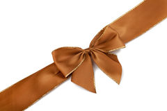 Brown satin ribbon Stock Photography