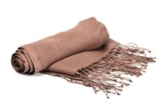 Brown scarf. Beautifull brown scarf isolated on white background Stock Image