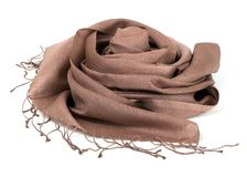 Brown scarf. Beautifull brown scarf isolated on white background Royalty Free Stock Image