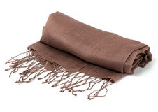 Brown scarf. Beautifull brown scarf isolated on white background Stock Photo