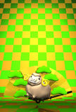 Brown-Schafe, goldener Fan mit grünem Muster-Text-Raum Lizenzfreie Stockbilder