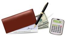 Brown-Scheckheft mit Check, Feder und Dollar Lizenzfreie Stockbilder