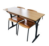 Brown school desk. Isolated on the white background Royalty Free Stock Photography