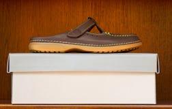 Brown-Schuh auf Kasten Lizenzfreie Stockfotografie