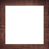 Brown scratched wooden frame, billboard or white horizontal rectangle Stock Image