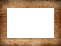 Brown scratched wooden frame, billboard or white horizontal rectangle Stock Images