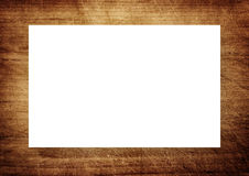 Brown scratched wooden frame, billboard or white horizontal rectangle Royalty Free Stock Photos