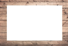 Brown scratched wooden frame, billboard or white horizontal rectangle with planks Stock Images