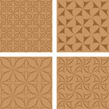Brown seamless background set. Light brown seamless curved calligraphic pattern background set Stock Photo