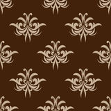 Brown seamless floral pattern in damask style Royalty Free Stock Photos