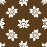 Brown seamless floral pattern with stylized flowers Royalty Free Stock Photos