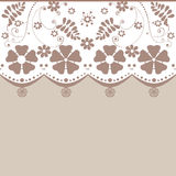 Brown seamless lace pattern white beige background Stock Photo