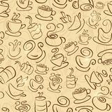 Brown Seamless Pattern with Coffee and Tea Cups Royalty Free Stock Photo