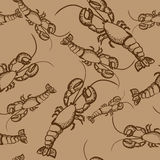 Brown seamless pattern with lobsters Royalty Free Stock Photo