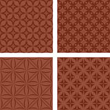Brown seamless pattern set. Brown seamless curved pattern background set Royalty Free Stock Photography