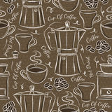 Brown seamless patterns with coffee set Stock Image