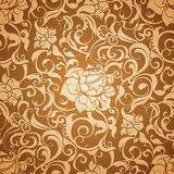 Brown Seamless wallpaper pattern. Computer illustration Stock Image