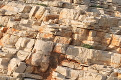 Brown Sedimentary Rocks. Fragmented Brown Sedimentary Rock Cross-section Layers Closeup Stock Photography