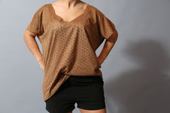 Brown see-through shirt Royalty Free Stock Images