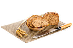 Brown seed bio bread isolated on white background Royalty Free Stock Images