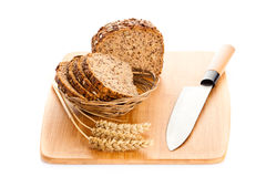 Brown seed  biobread  isolated on white background healthy food Royalty Free Stock Photos