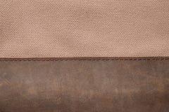 Brown-Segeltuch und braunes Leder Stockbilder