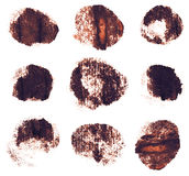 Brown sepia ink round shapes isolated on white Stock Images