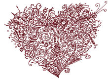 Brown serce w zentangle stylu pojedynczy białe tło Ziołowy wzór dla dorosłego kolorystyki książki antego stresu Kreskowej sztuki Fotografia Royalty Free