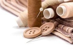 Brown sewing kit Stock Image
