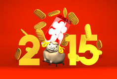 Brown Sheep And Full‐House Bonus, 2015 On Red. 3D render illustration For The Year Of The Sheep,2015 Stock Image