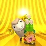 Brown Sheep And Kadomatsu On Golden Background Royalty Free Stock Image