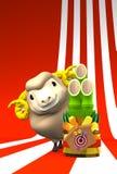 Brown Sheep, Kadomatsu With Text Space Royalty Free Stock Image
