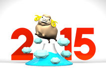 Brown Sheep On Mountain, 2015 On White Background. 3D render illustration For New Year's Day In Asia Stock Photos