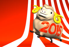 2015 Brown Sheep On Striped Pattern Text Space. 3D render illustration For The Year Of The Sheep,2015 In Japan. For New Year Greeting Postcard royalty free illustration