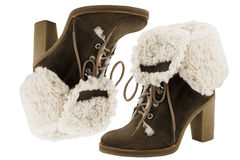 Brown sheepskin  suede high boots Royalty Free Stock Images