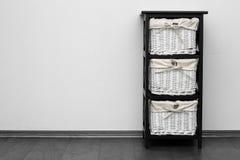 Brown Shelf With Wicker Baskets Royalty Free Stock Photo